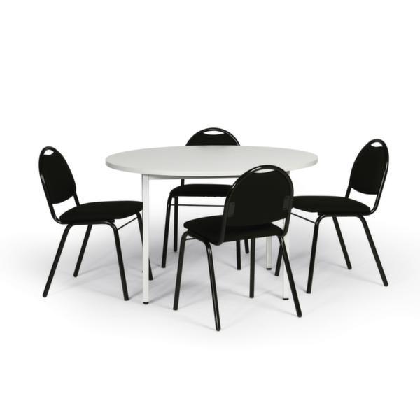 Tisch-Stuhl-Kombination, Tisch Ø 1000mm, lichtgrau, 4 Stühle, gepolstert, schwarz (VE 1 PCE = 1 PCE)