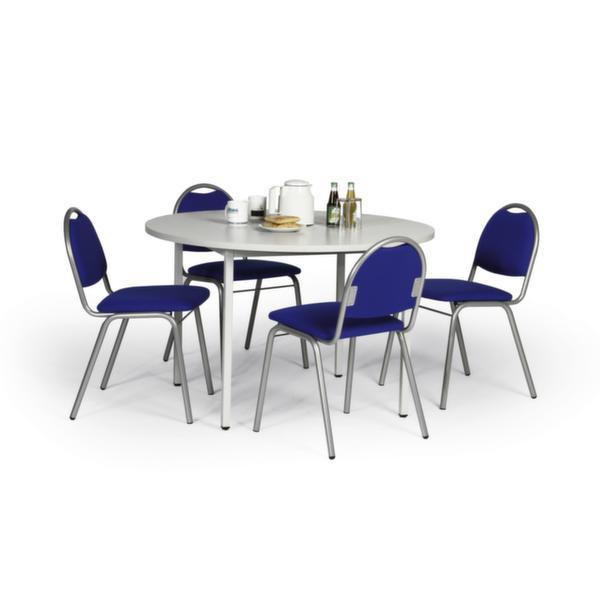 Tisch-Stuhl-Kombination, Tisch Ø 1000mm, lichtgrau, 4 Stühle, gepolstert, blau (VE 1 PCE = 1 PCE)